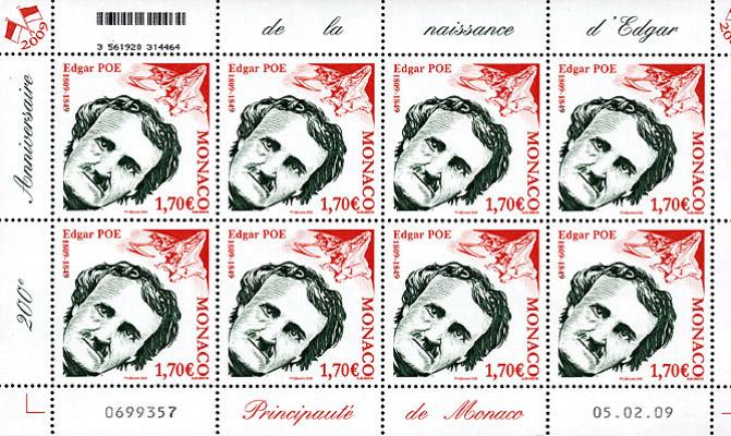 Un francobollo per Poe dal Principato di Monaco