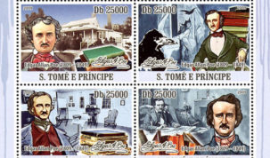 4 francobolli per Poe da São Tomé e Príncipe