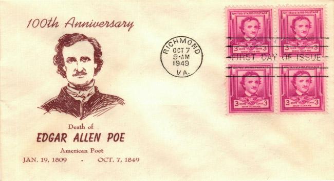 Foglietto con francobollo Poe