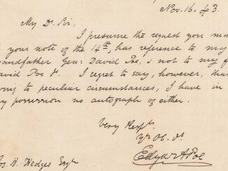 Lettera autografa di Edgar Allan Poe all'asta