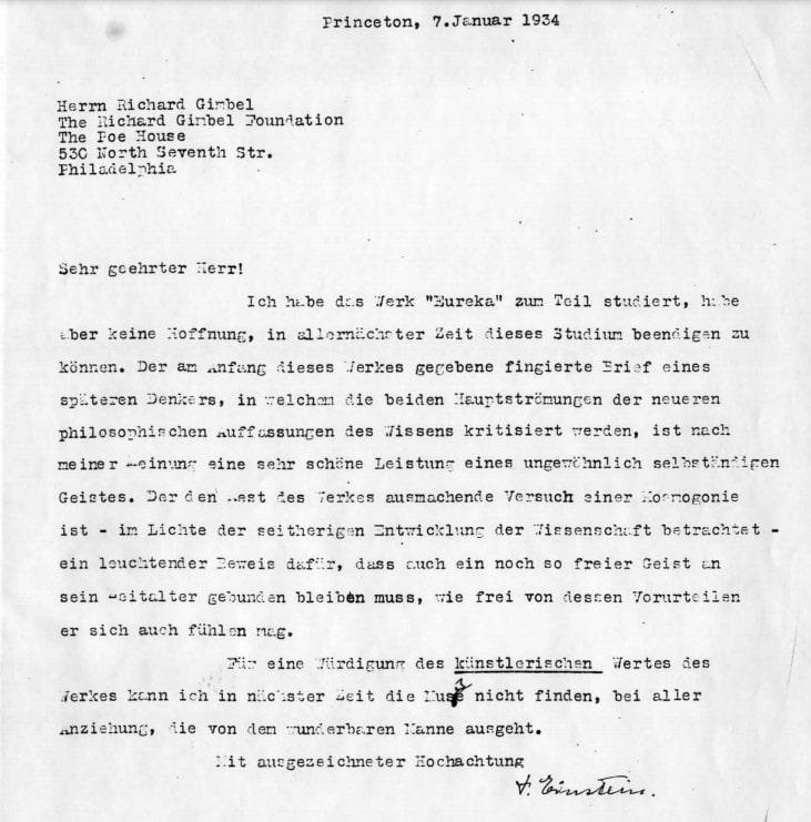 Lettera di Einstein a Gimbel