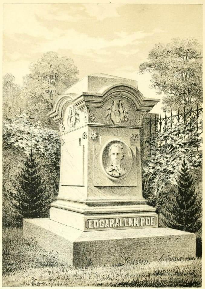 Disegno del monumento sepolcrale a Poe